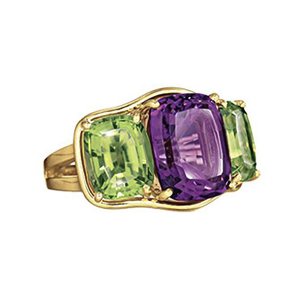 Amethyst & Peridot Large Three-Stone Ring