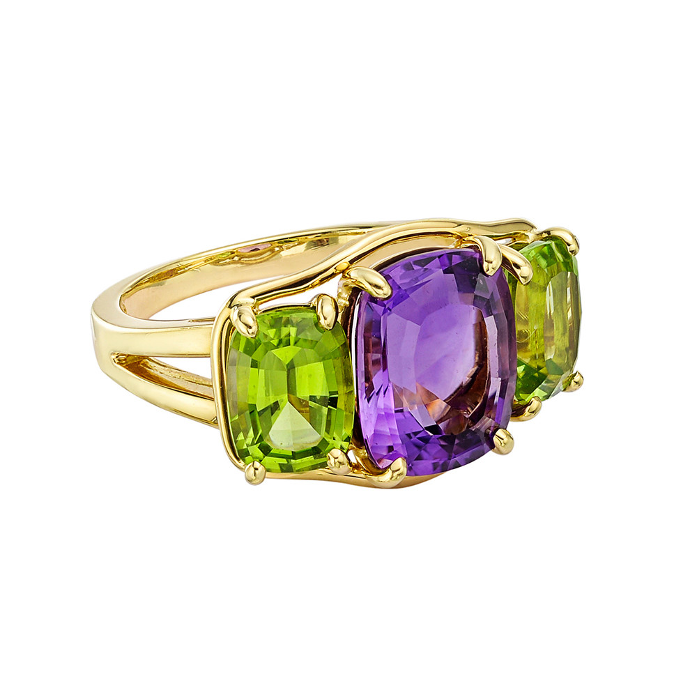 Amethyst & Peridot Three-Stone Ring