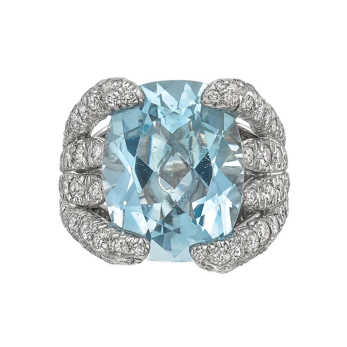 "Aquamarine ""Eight Blades"" Ring"