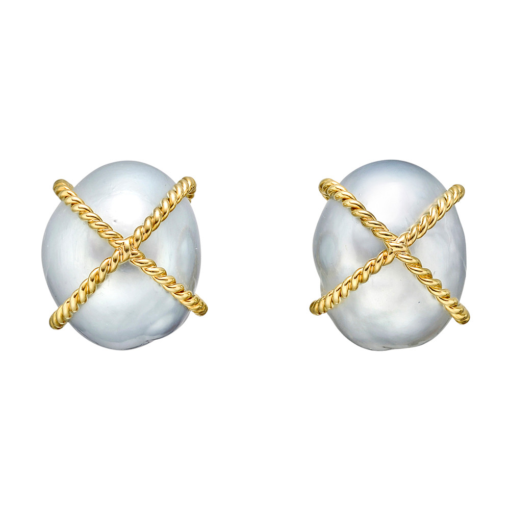 Baroque South Sea Pearl & 18k Gold Wrap Earclips