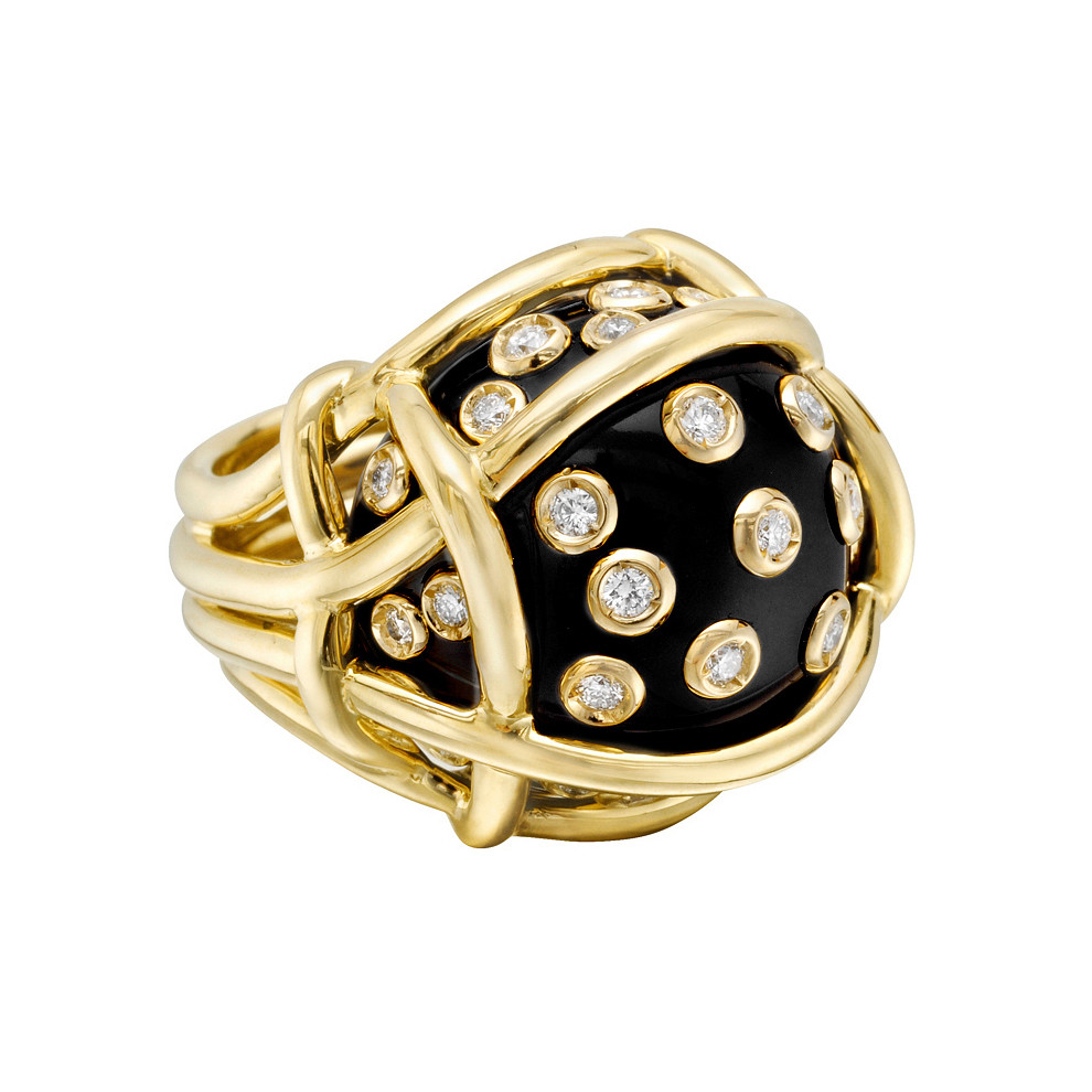 "Black Onyx & Diamond ""Polka Dot"" Ring"