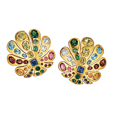 "Multicolored Gemstone ""Byzantine Peacock"" Earrings"