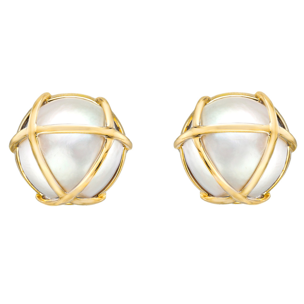 "Mabe Pearl ""Caged"" Earclips"