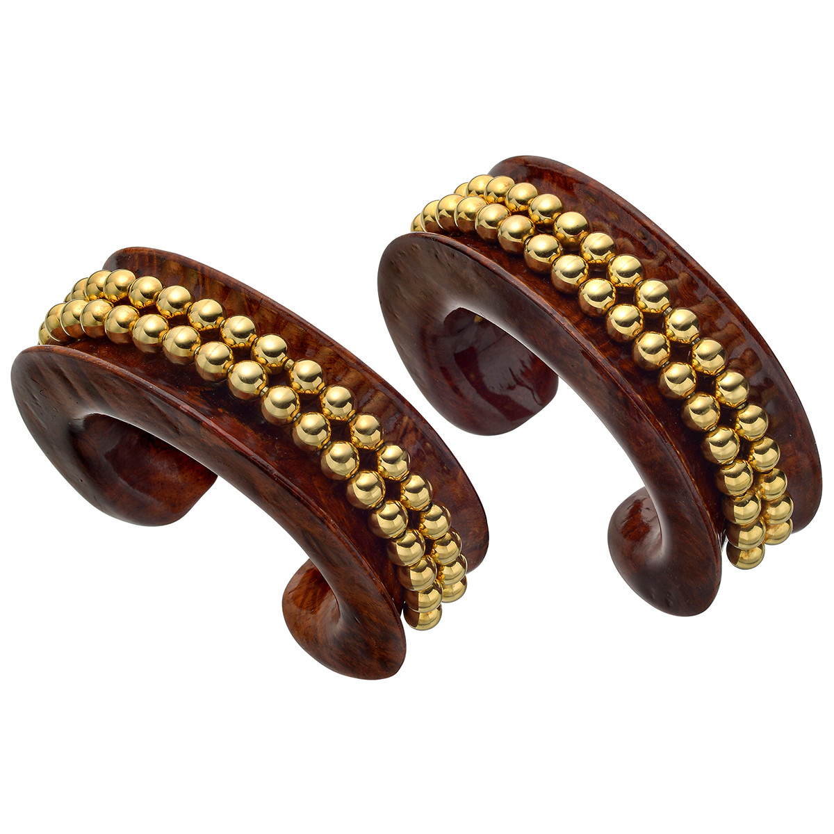 Pair of Vintage Carved Wood & Gold Bead Cuffs