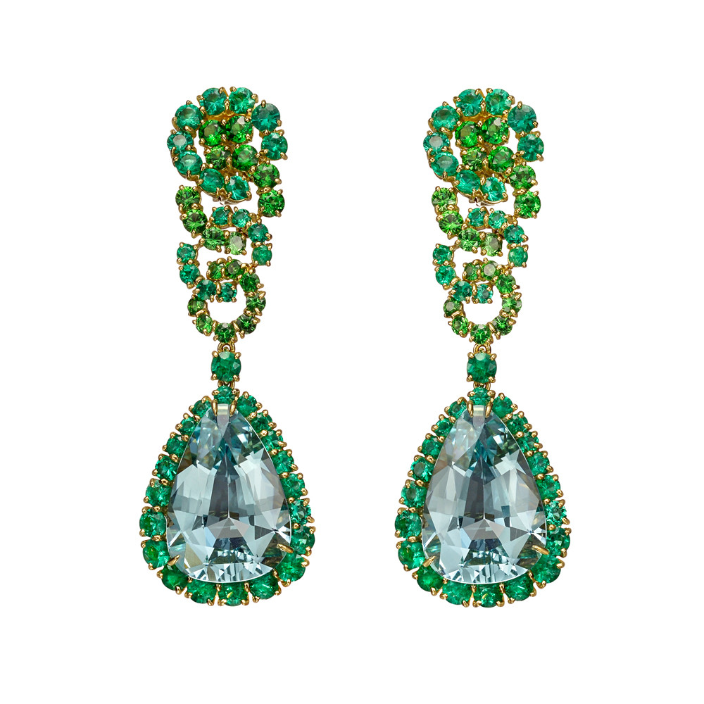 "Aquamarine, Emerald & Tsavorite ""Cascade"" Earrings"