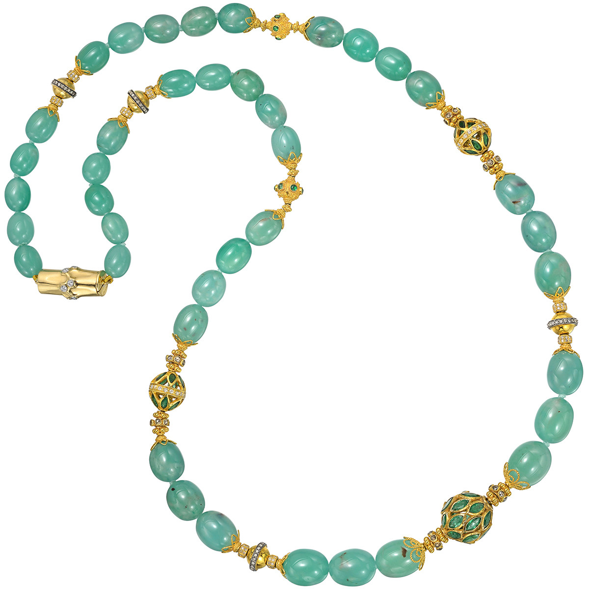 Seafoam Green Chalcedony Bead Long Necklace