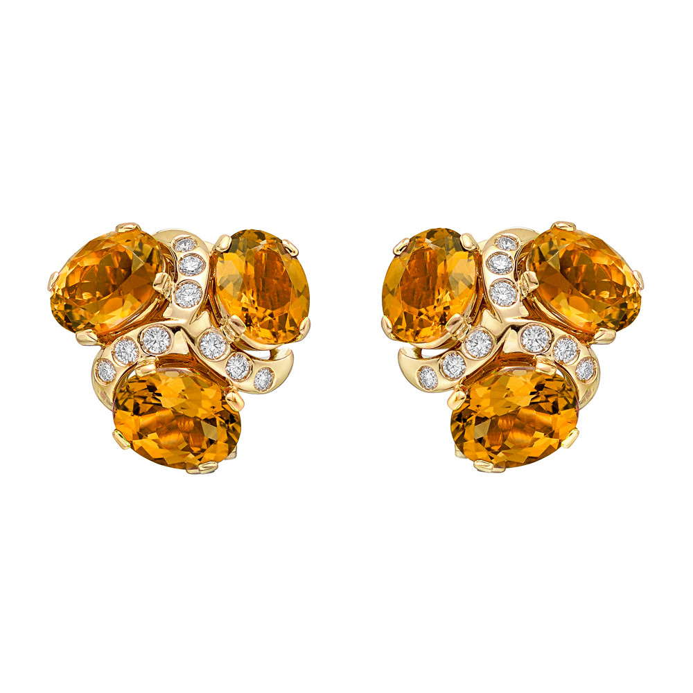 "Citrine & Diamond ""Three Stone"" Earclips"