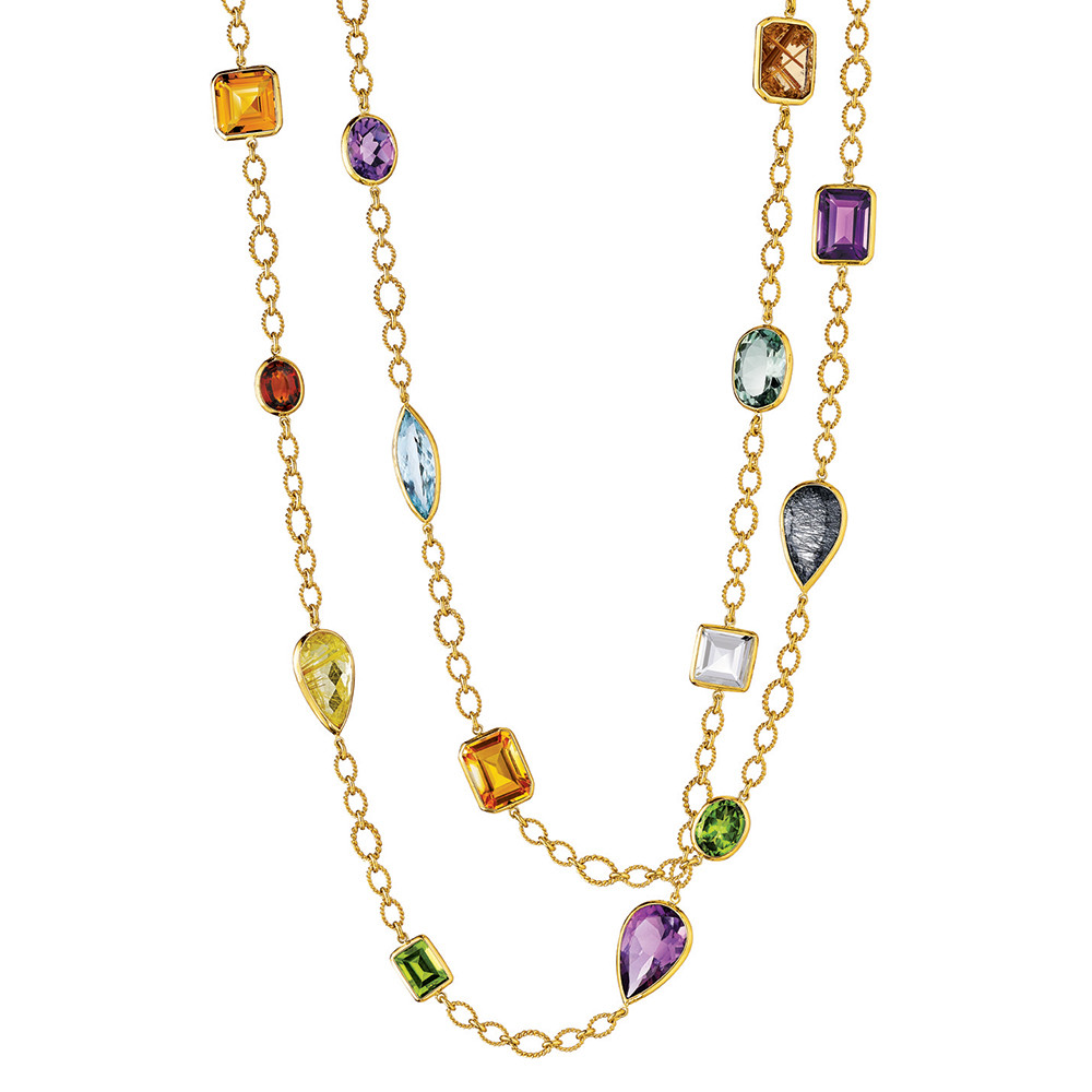 "Multicolored Gemstone ""Confetti"" Long Necklace"