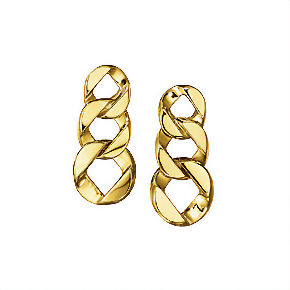 18k Yellow Gold Curb-Link Piccolo Pendant Earrings
