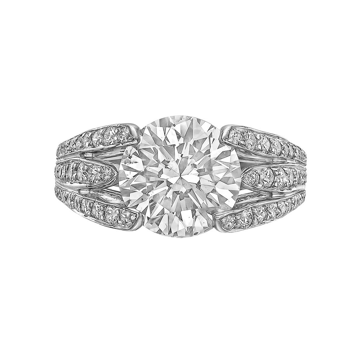 "3.10ct Round Diamond ""Twin Blades"" Ring"