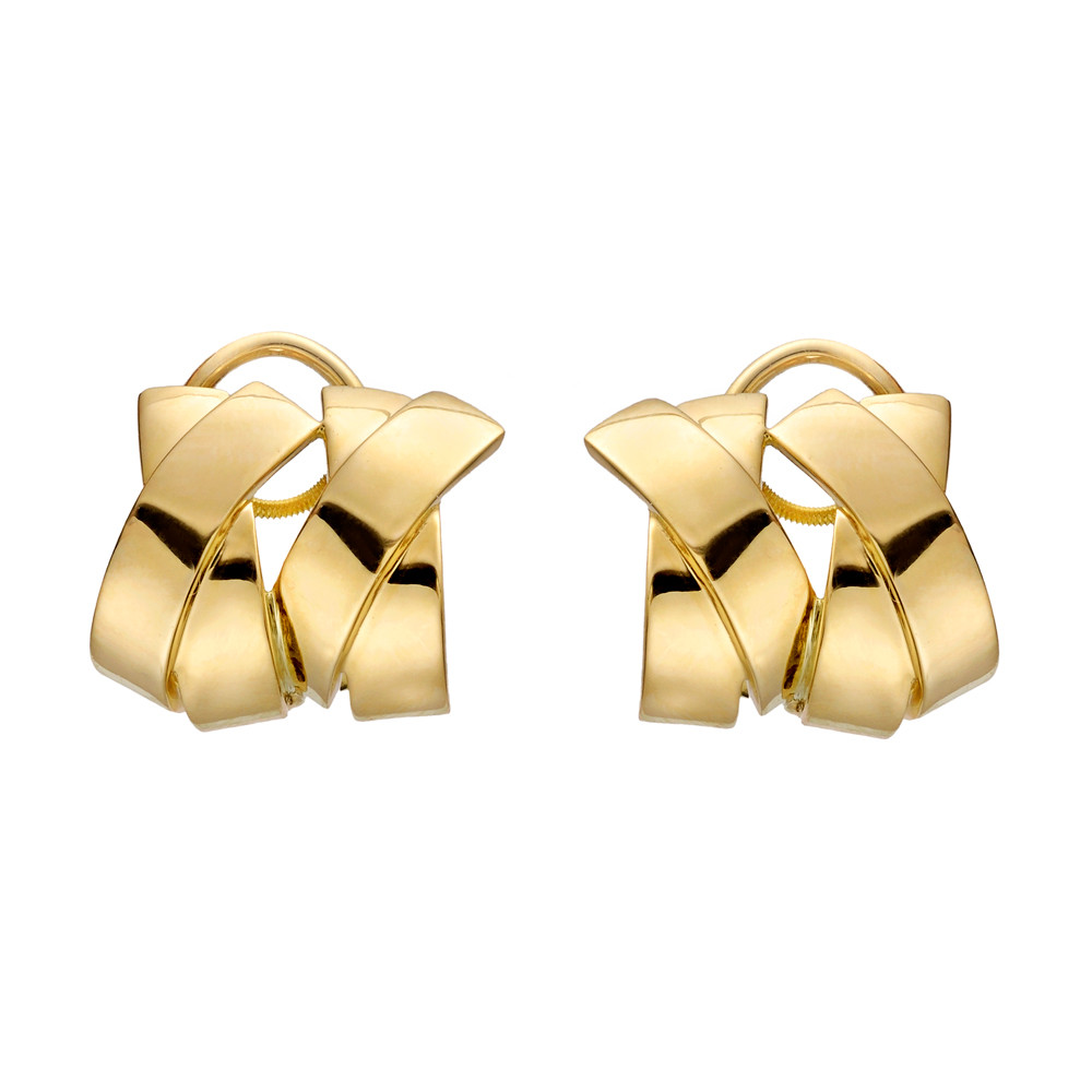 18k Yellow Gold Double 'X' Earrings