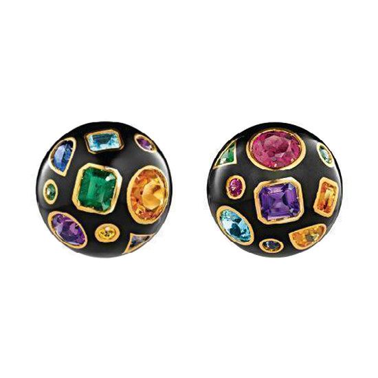 "Gem-Set & Black Enamel ""Fulco"" Earclips"