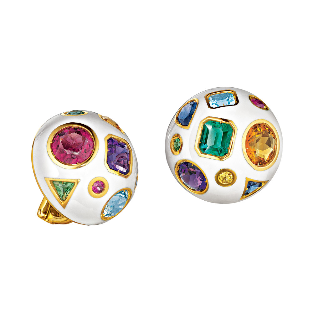 "Gem-Set & White Enamel ""Fulco"" Earclips"