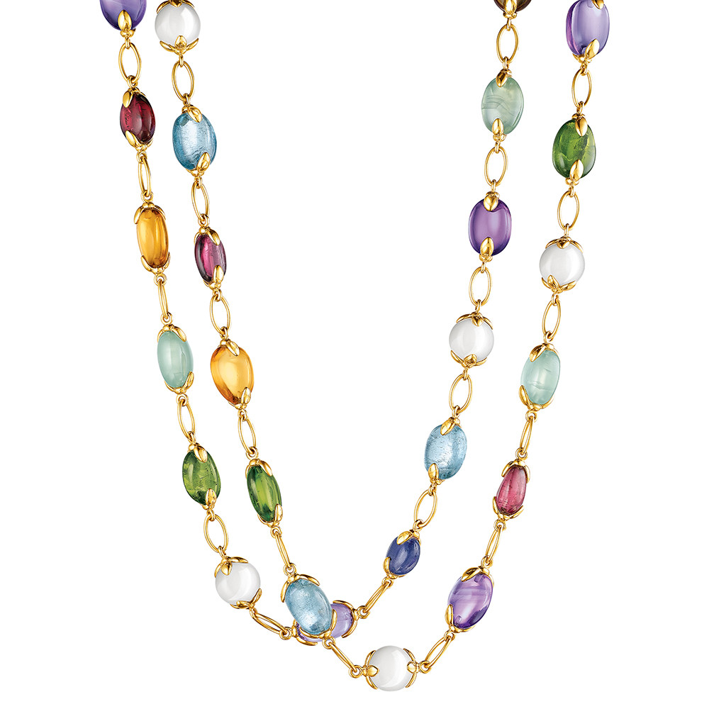 "18k Gold & Gemstone ""Fulco"" Long Necklace"