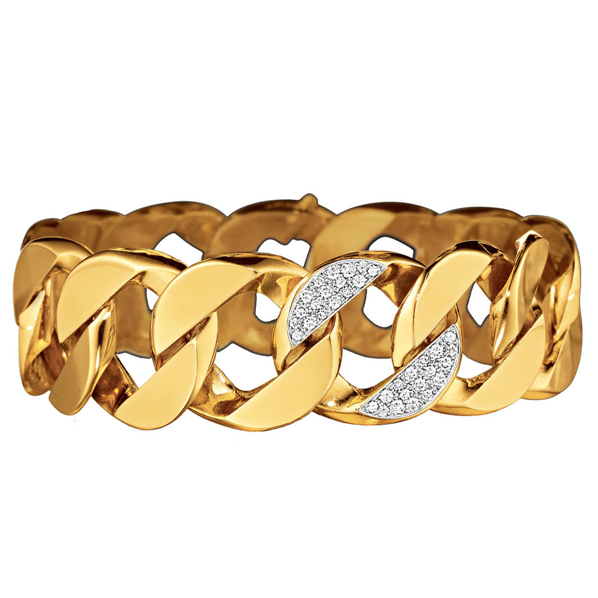 18k Yellow Gold & Diamond Curb-Link Bracelet