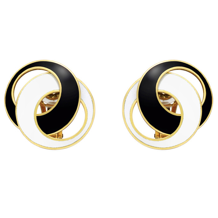 "Black & White Enamel ""Double Crescent"" Earrings"
