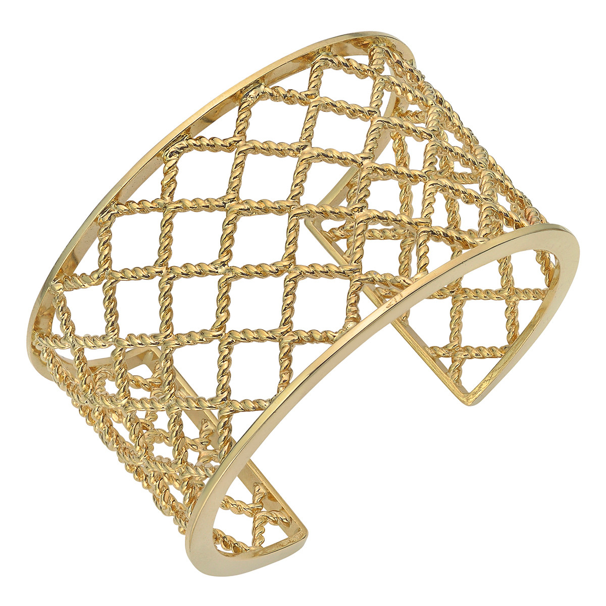 18k Yellow Gold Lattice Cuff Bracelet