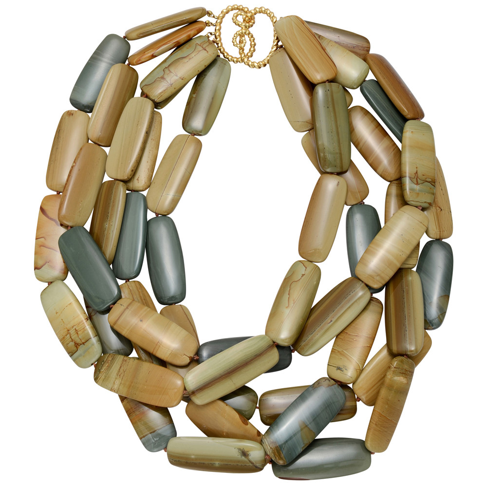 Jasper 'Tile' Necklace with 18k Gold Clasp