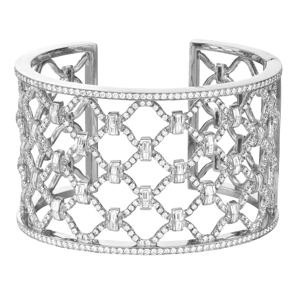 "18k White Gold & Diamond ""Kensington"" Cuff Bracelet"