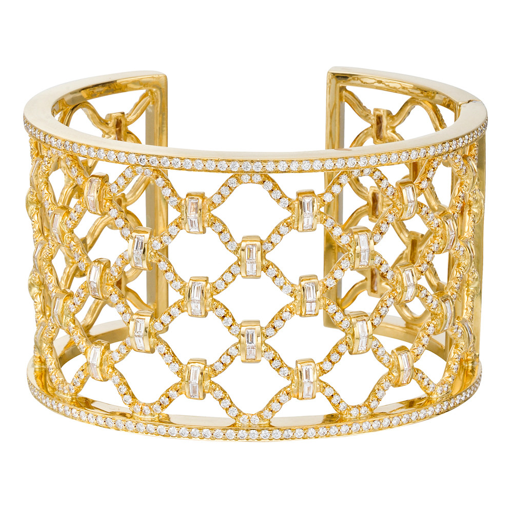 "18k Yellow Gold & Diamond ""Kensington"" Cuff Bracelet"