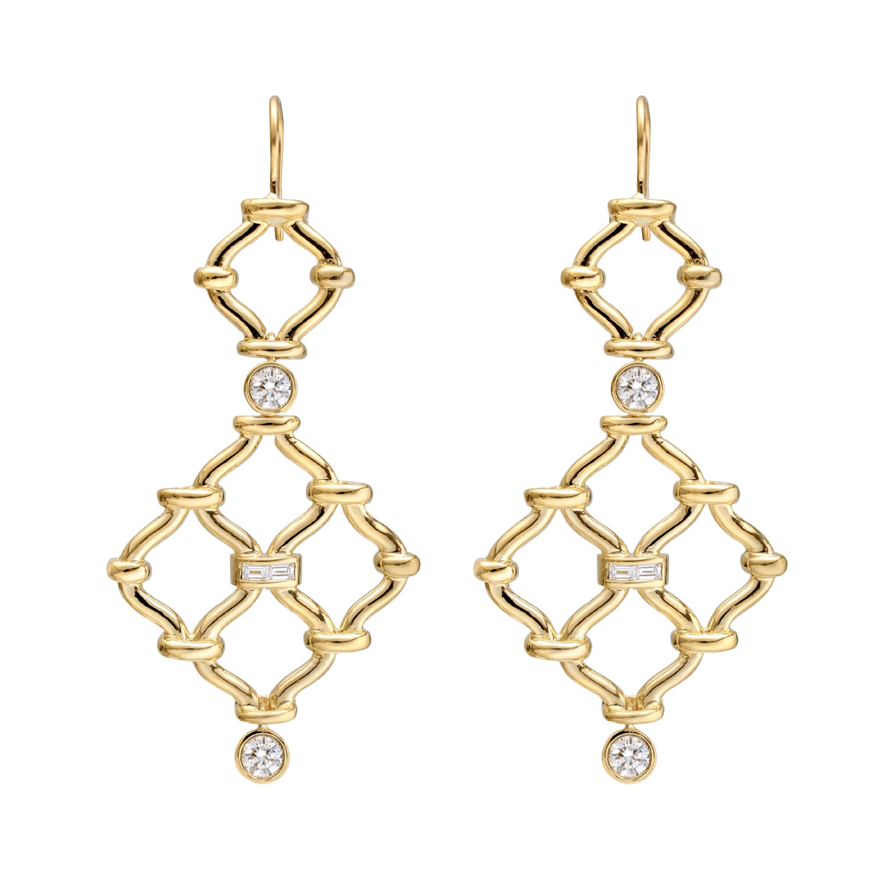"18k Yellow Gold & Diamond ""Kensington"" Drop Earrings"