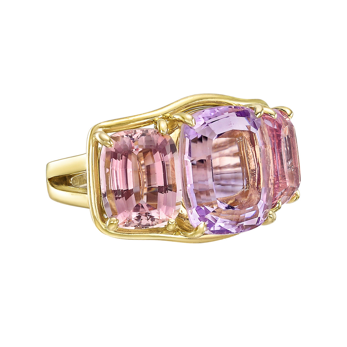Kunzite & Pink Tourmaline Three-Stone Ring