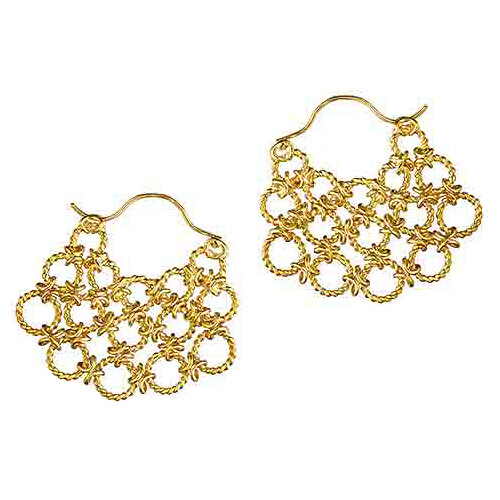 "18k Yellow Gold ""Lace Fan"" Earrings"