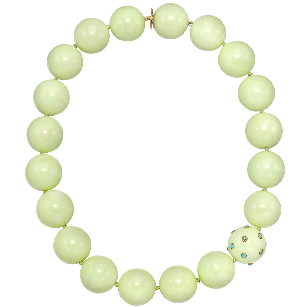 Chrysoprase, Turquoise & 18k Gold Bead Necklace