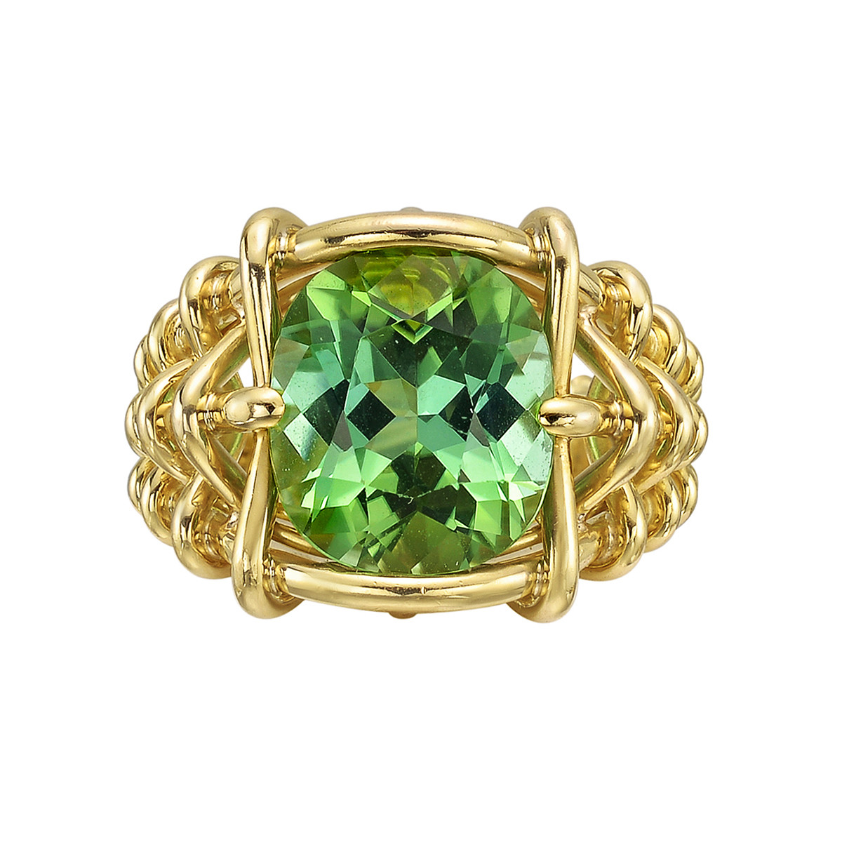 5.05ct Mint Tourmaline Basketweave Ring