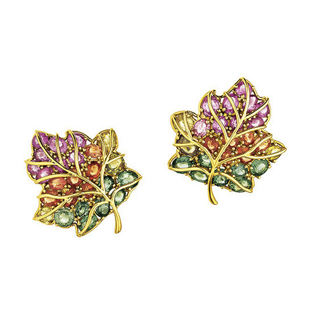 Multicolored Sapphire Leaf Earrings