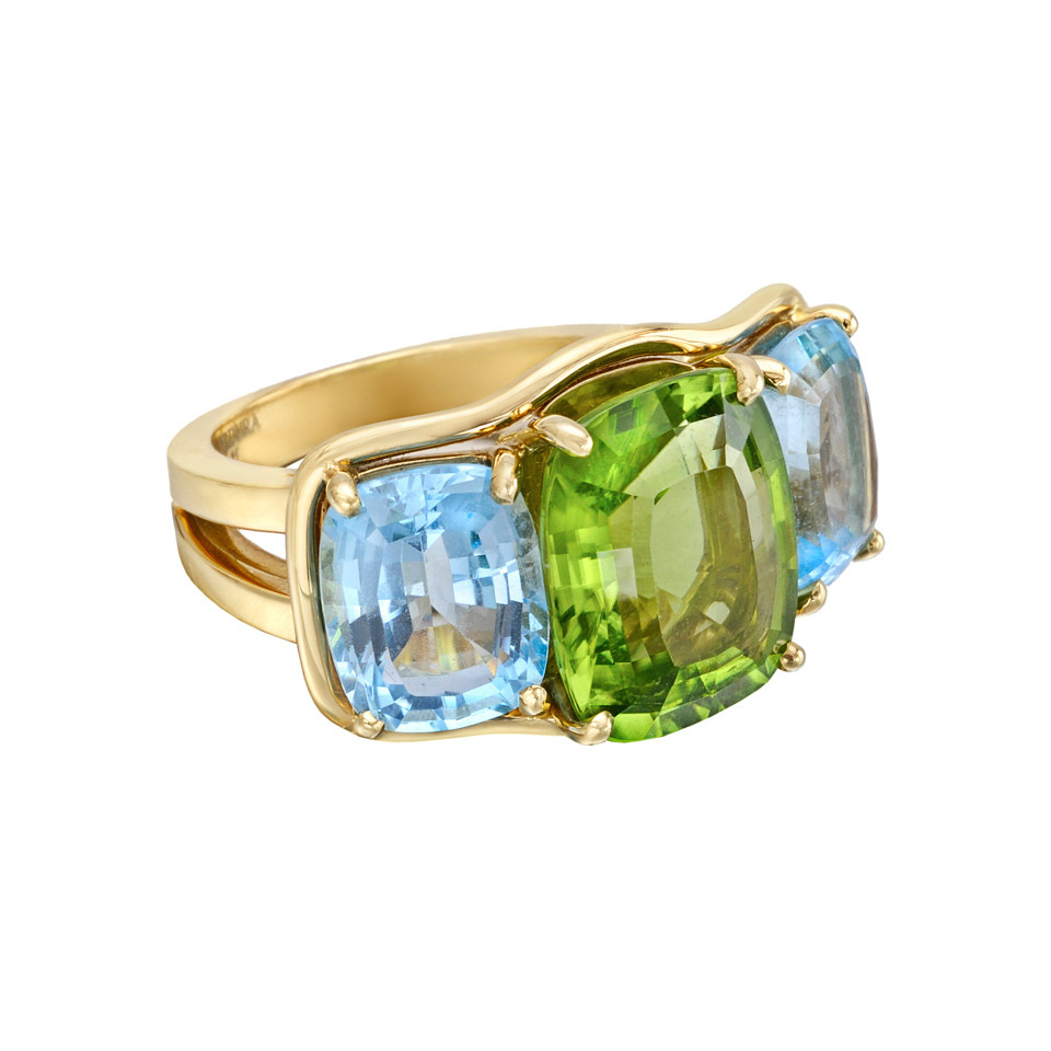 Large Peridot & Blue Topaz Three-Stone Ring