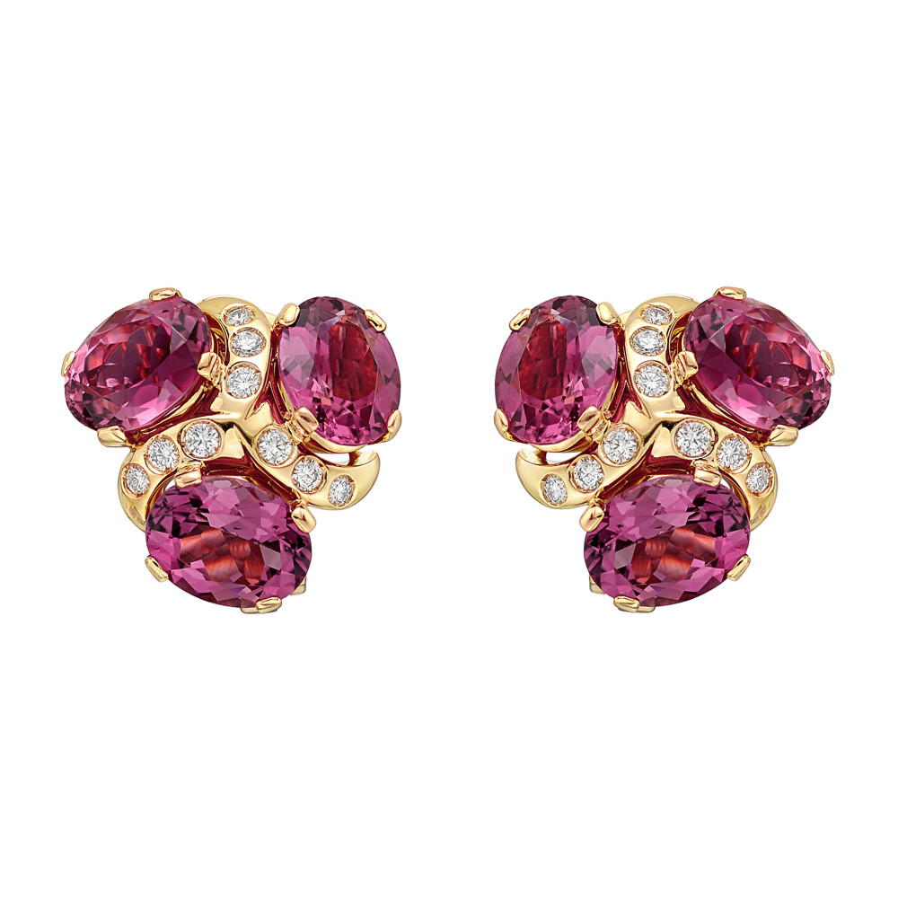 Three Stone Earclips Designed With Oval Shaped Pink Tourmalines Separated By Rows Of Circular Cut Diamonds The Earrings Eigh