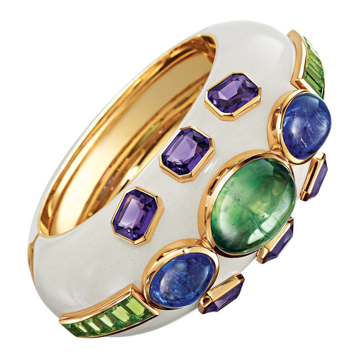 "Green Tourmaline & Tanzanite ""Ravenna"" Cuff"