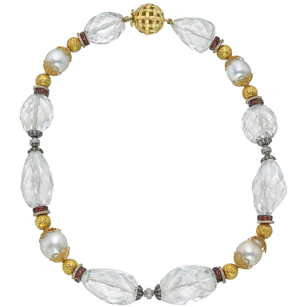 Rock Crystal, Pearl & Gem-Set Bead Necklace