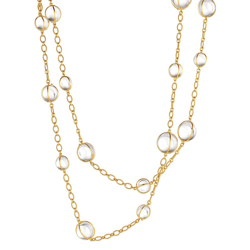 "18k Gold & Rock Crystal ""Bubbles"" Long Necklace"