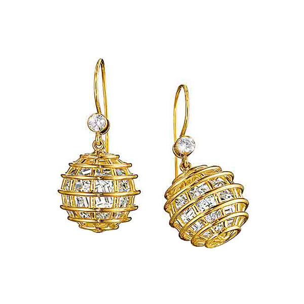 "Rock Crystal ""Caged"" Drop Earrings"
