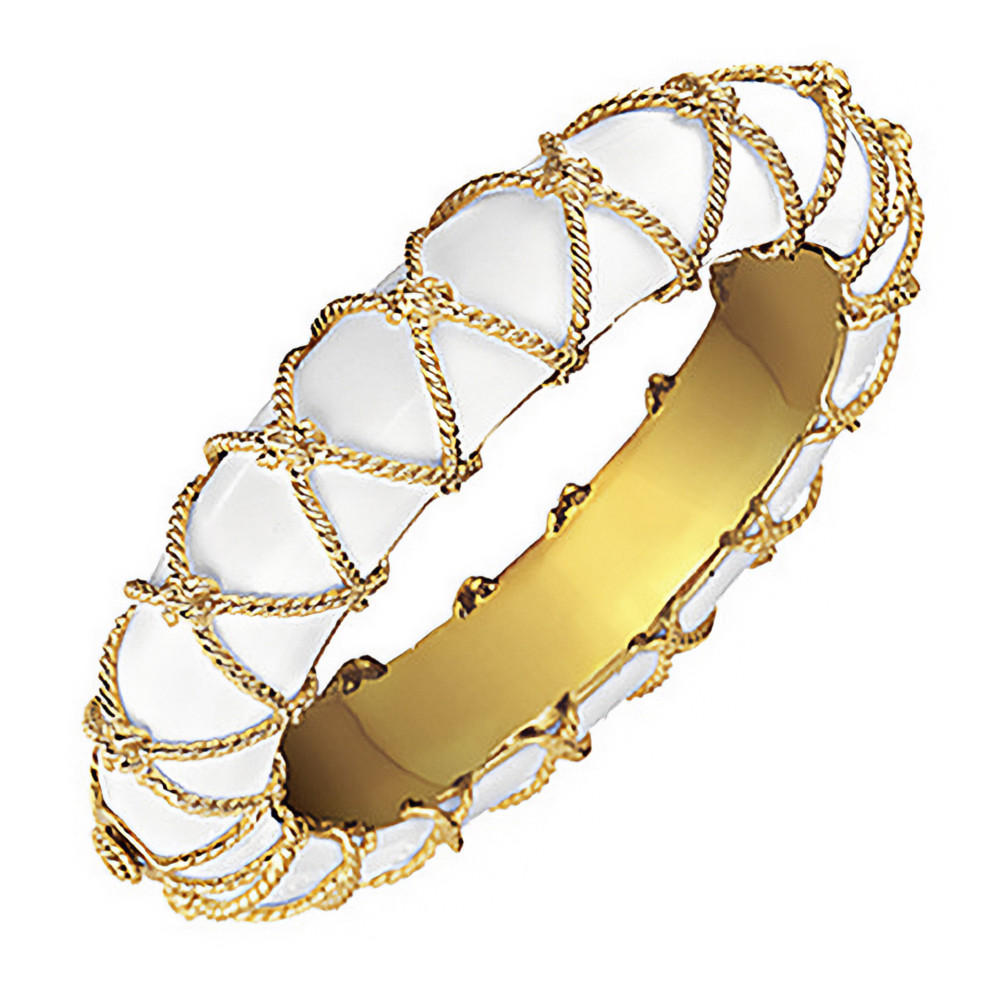 18k Yellow Gold & Cocholong Rope Net Bangle