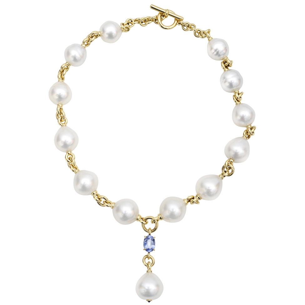 South Sea Pearl & Sapphire 'Y' Necklace