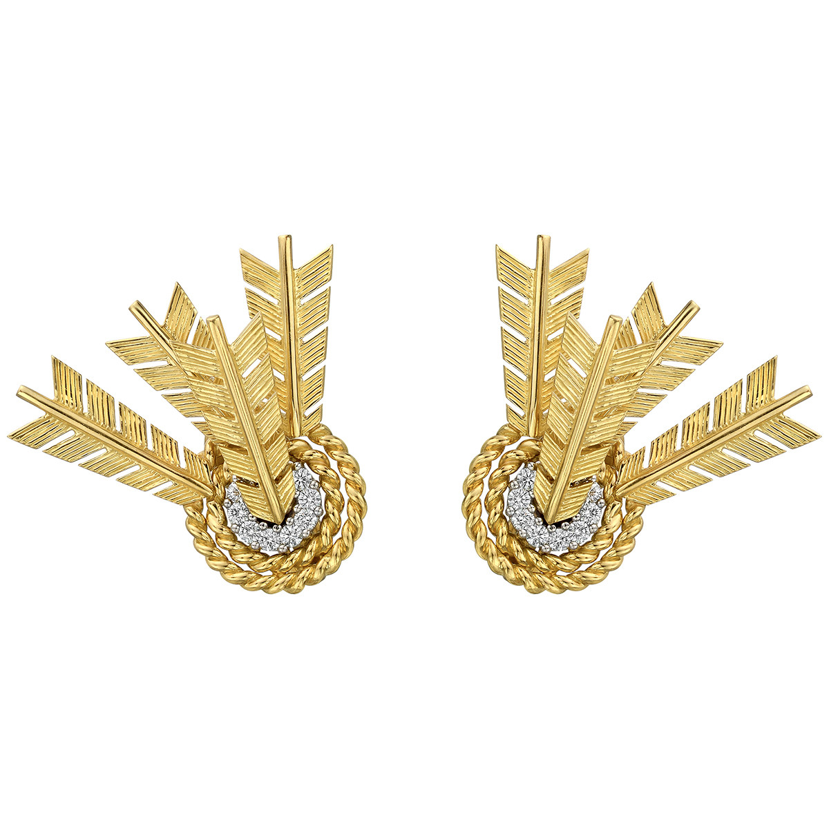 18k Yellow Gold, Platinum & Diamond Target Earrings