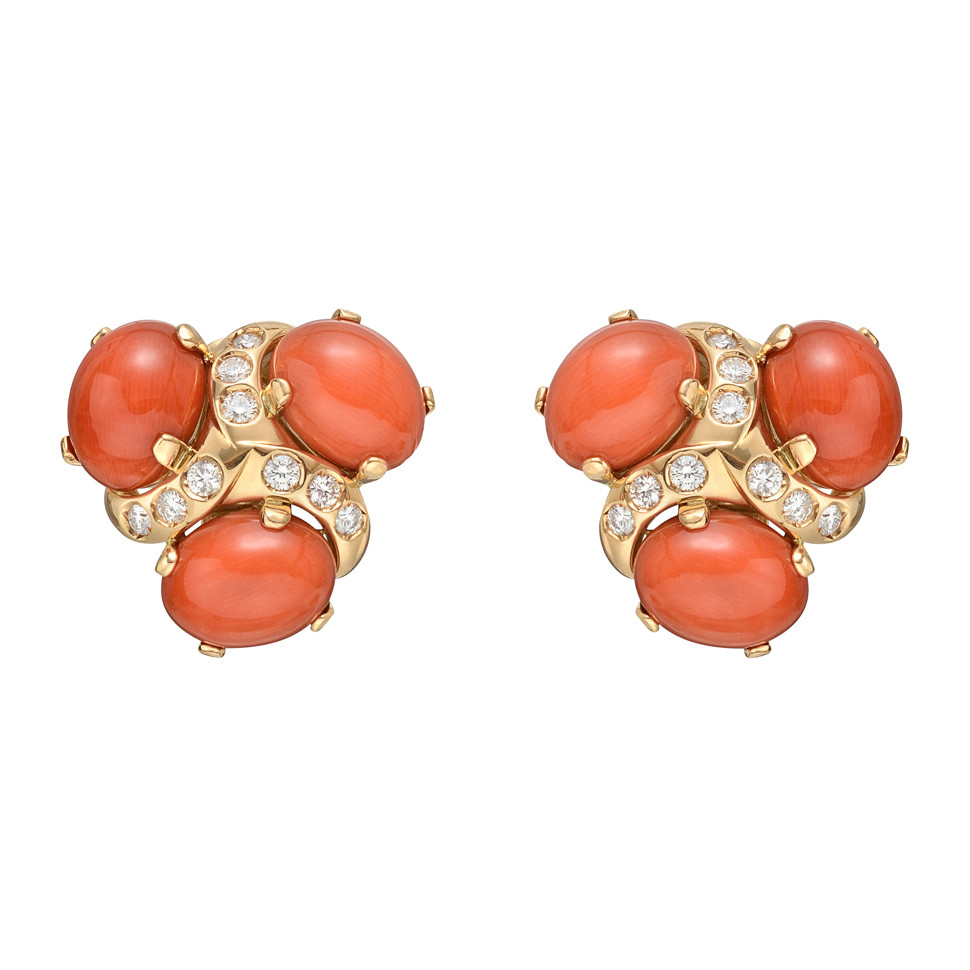 "Coral & Diamond ""Three Stone"" Earrings"