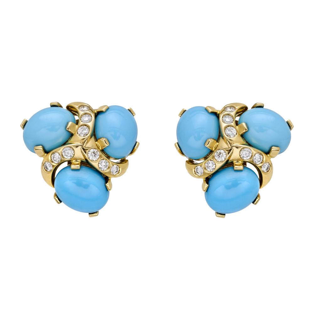 "Turquoise & Diamond ""Three Stone"" Earrings"