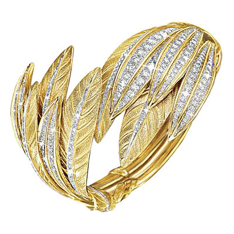 "18k Yellow Gold, Platinum & Diamond ""Tiara"" Feather Cuff"