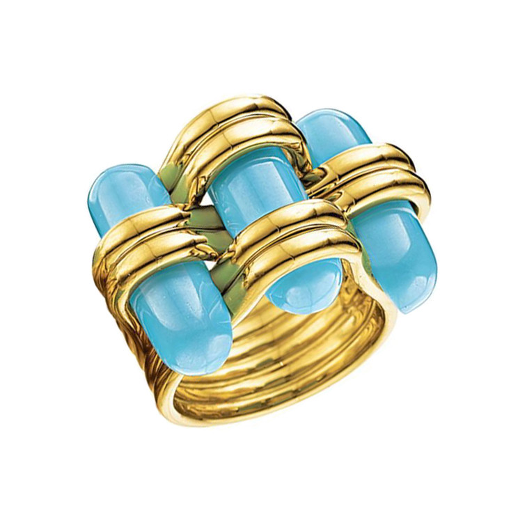 "18k Yellow Gold & Turquoise ""Trio"" Ring"