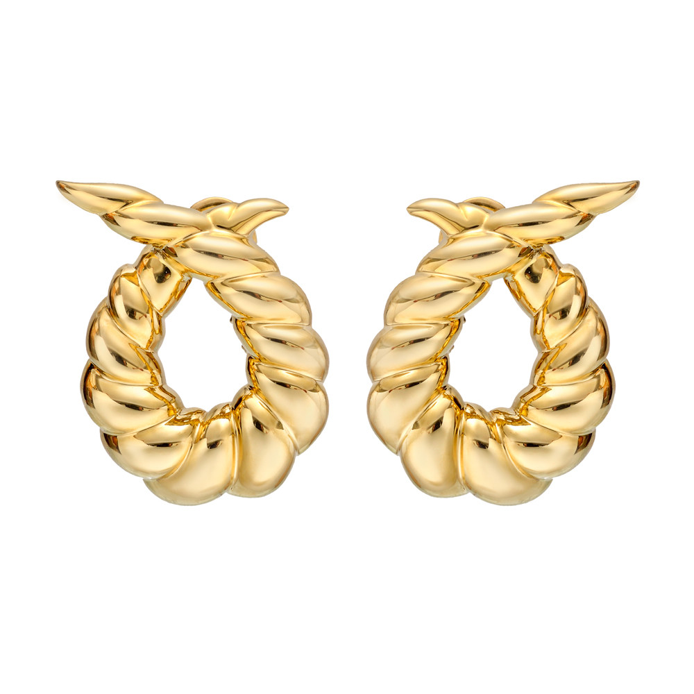"18k Yellow Gold ""Twisted Horn"" Earrings"