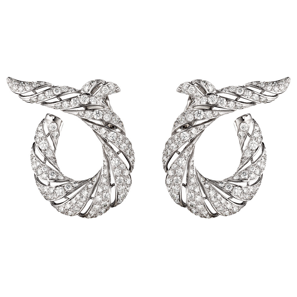 "Platinum & Diamond ""Twisted Horn"" Earrings"