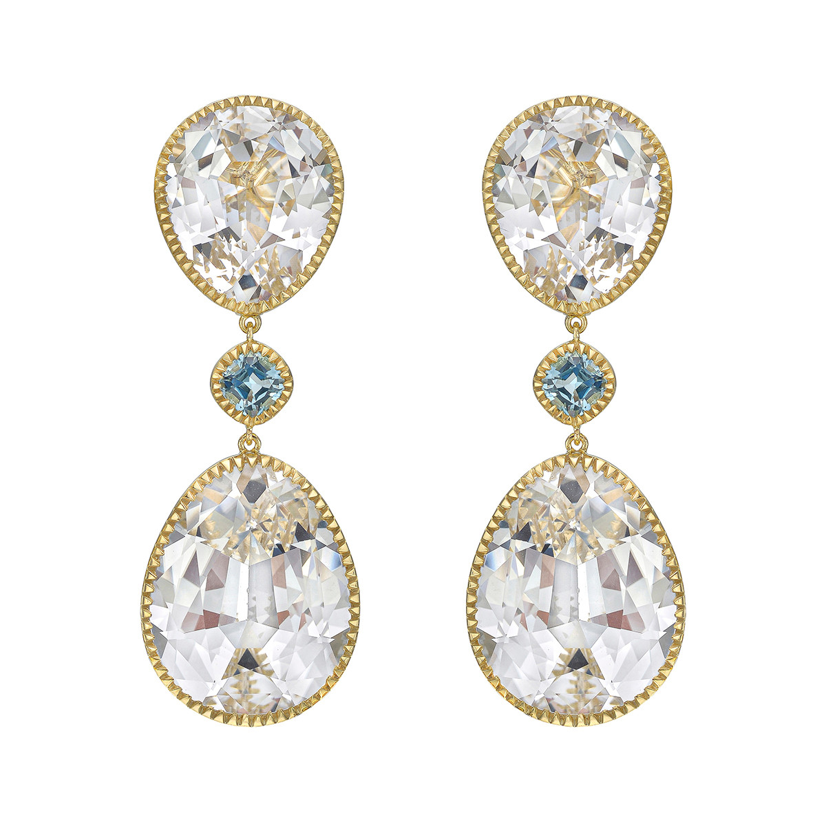 "White & Blue Topaz ""Byzantine"" Drop Earrings"