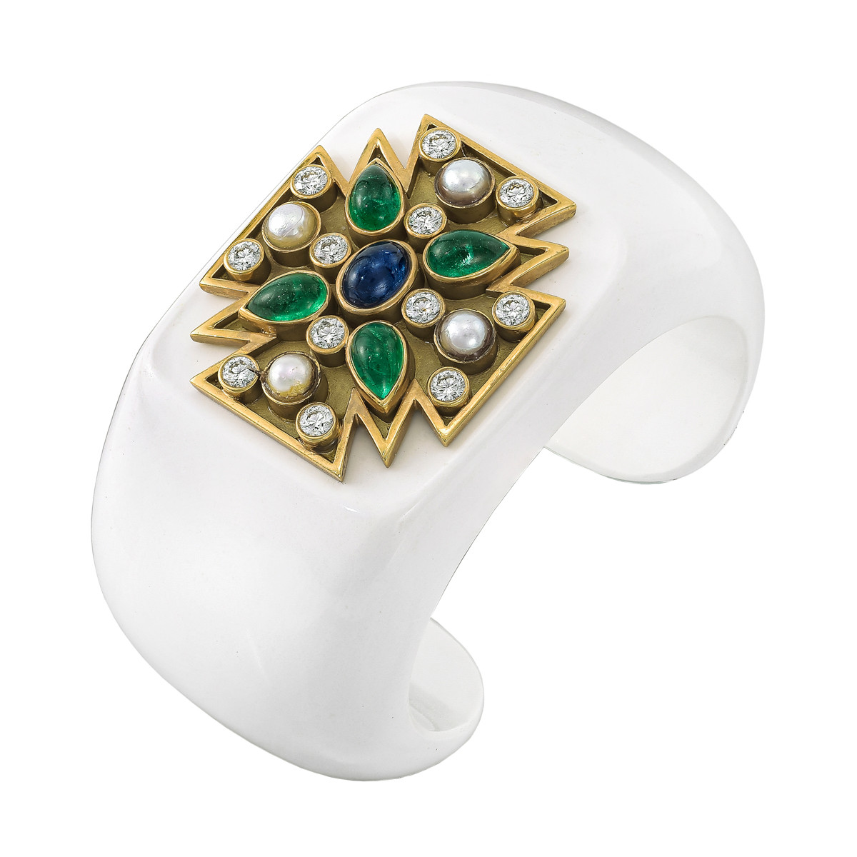"Cocholong, 18k Gold & Gem-Set ""Maltese Cross"" Cuff"