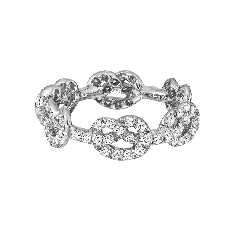 "18k White Gold & Diamond ""Love Knot"" Band Ring"