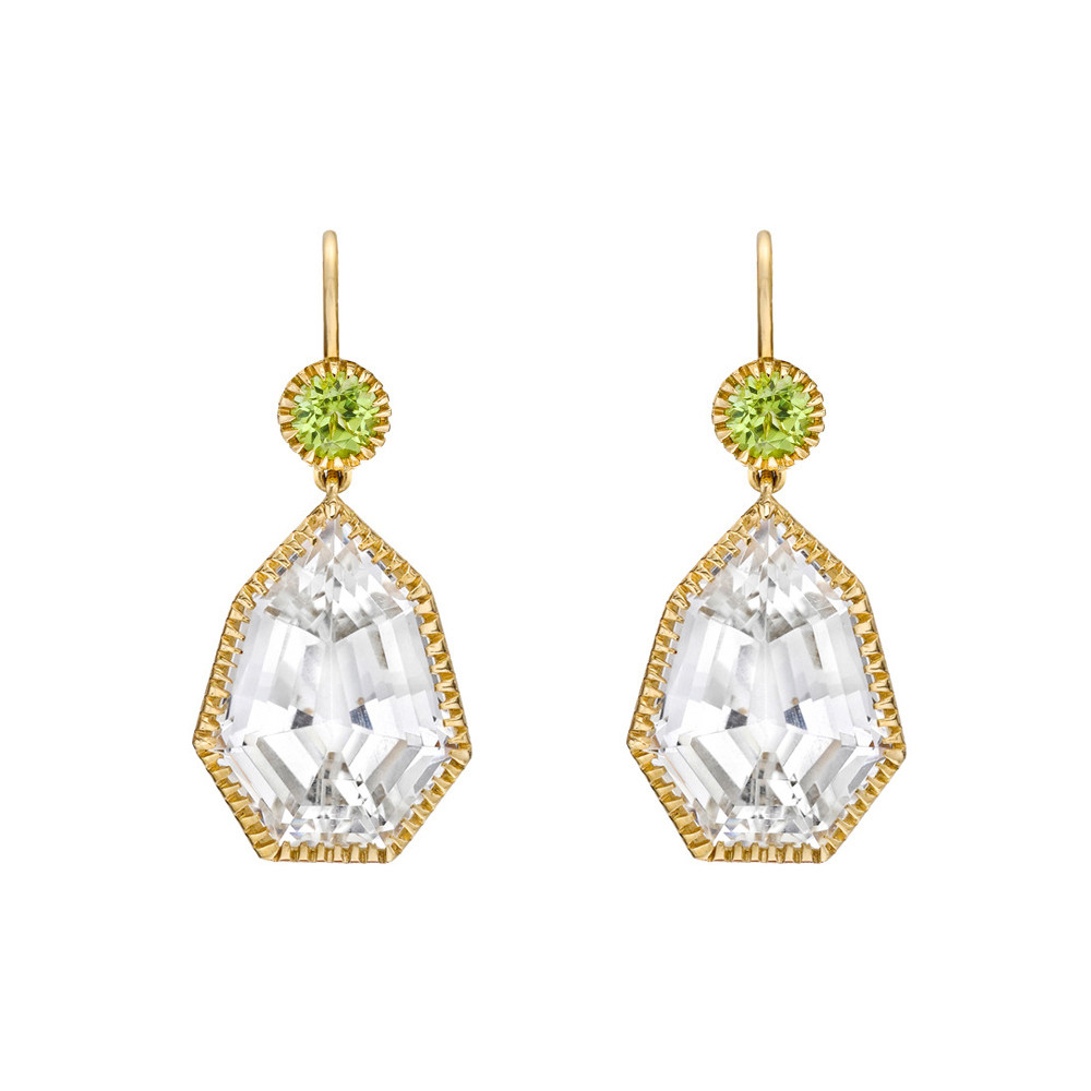 "White Topaz & Peridot ""Byzantine"" Drop Earrings"