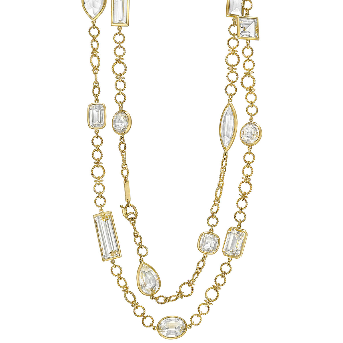 "18k Yellow Gold & Rock Crystal ""Confetti"" Long Necklace"